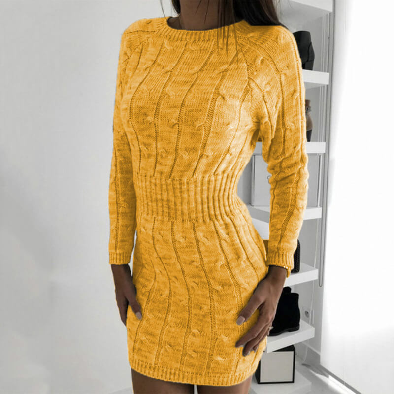 Mid-Long Long Sleeve Women Sweater Dress