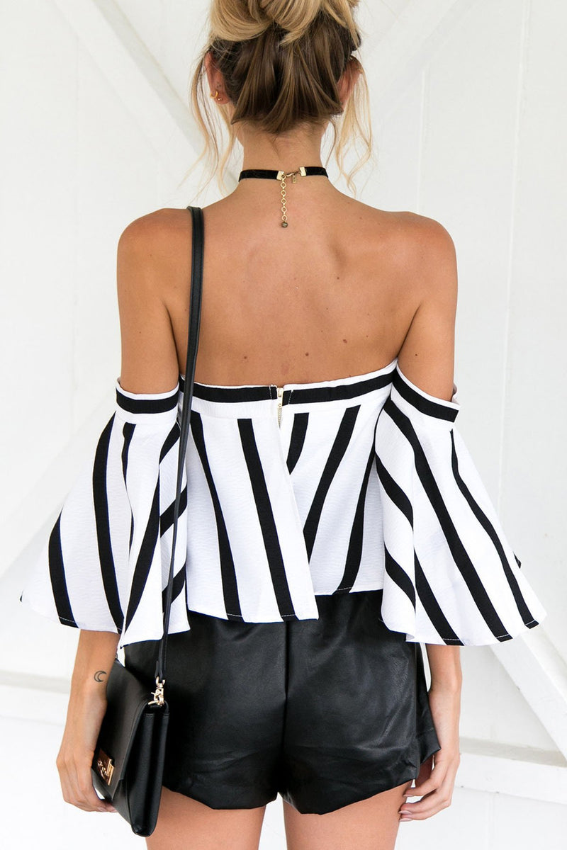 Off Shoulder Stripes Trumpet Sleeves Loose Blouse
