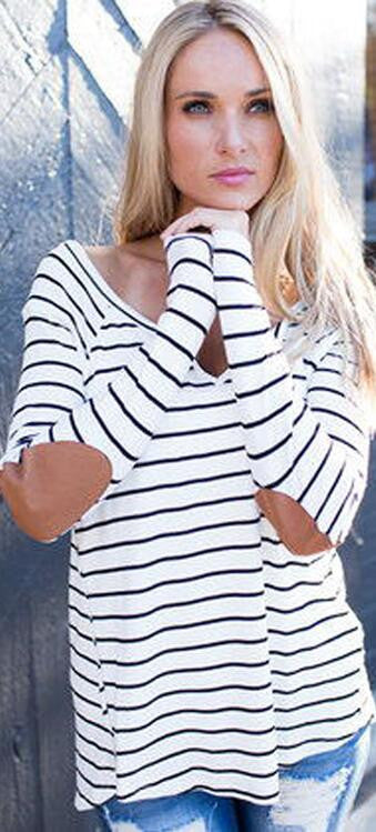 Fashion Stripe Print V Neck Long Sleeve Blouse - Oh Yours Fashion - 2