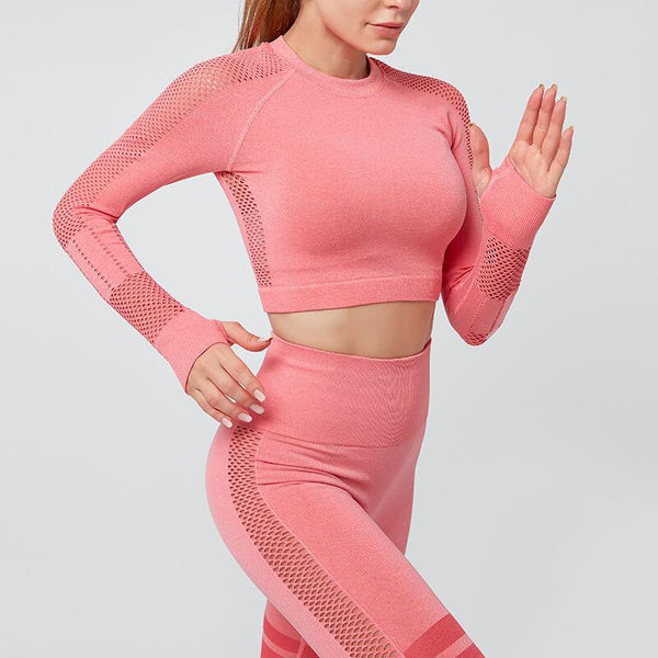 Yoga Long Sleeve Cutout High Waist Bodycon Skinny Pant Sets