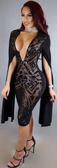 Long Split Sleeve Black Sequins Deep V Neck Bodycon Knee-Length Dress - Oh Yours Fashion - 2