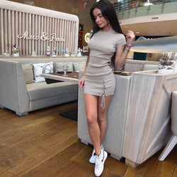 Pure Color Short Sleeves Straps Short Dress