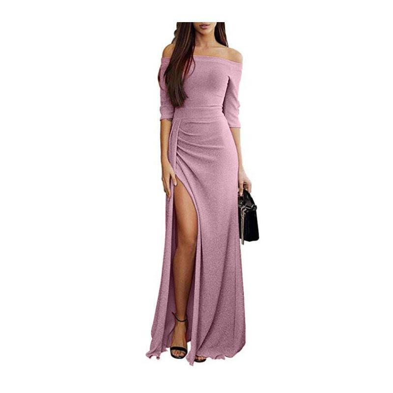 Shinning Sequins Off-the-Shoulder Split Long Women Party Dress
