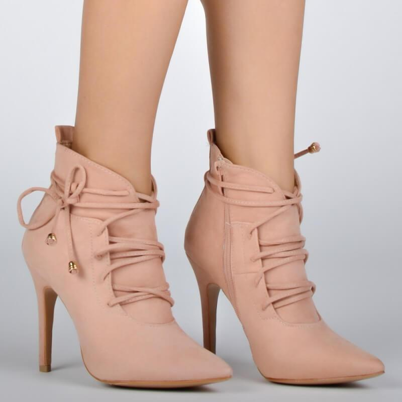 Pink Lace Up High Heel Suede Ankle Boots