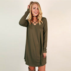 Army Green Long-Sleeved Cross Stitching Dress - Oh Yours Fashion - 1