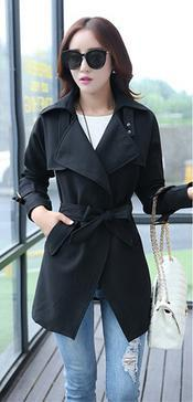 Belt High Neck Long Sleeves Irregular Slim Mid-length Coat - Meet Yours Fashion - 4