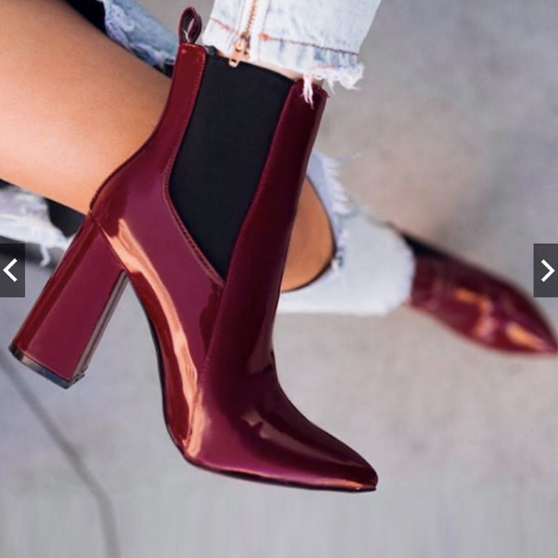 Chunky Heel Patent Leather Chelsea Boots