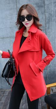 Belt High Neck Long Sleeves Irregular Slim Mid-length Coat - Meet Yours Fashion - 5