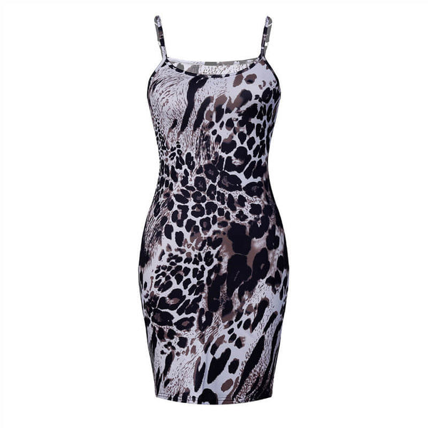 Animal Printed Bodycon Sling Dress
