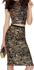 Sexy Sequins Geometric Print Knee-length Bodycon Two Pieces Dress - Oh Yours Fashion - 1