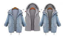 Blue Hooded Drawstring Denim Two Pieces Coat - Oh Yours Fashion - 6