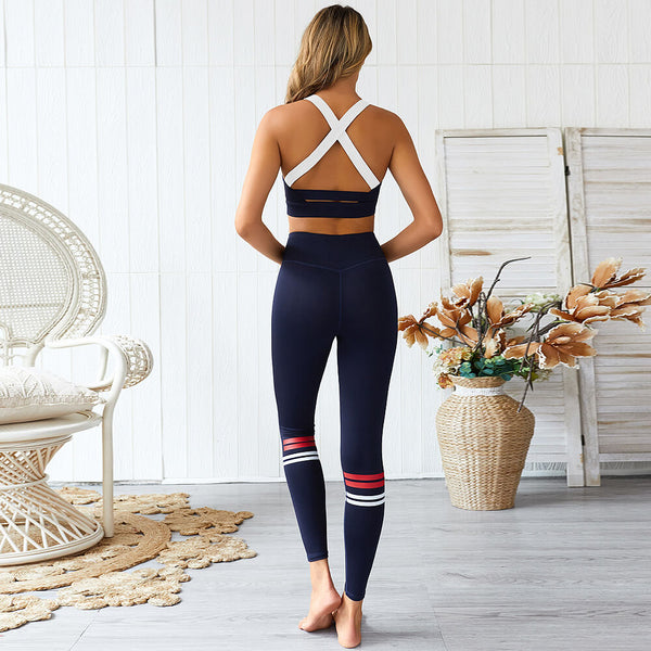 Sexy Dark Blue Tank Top High Waist Bodycon Skinny Pant Sets