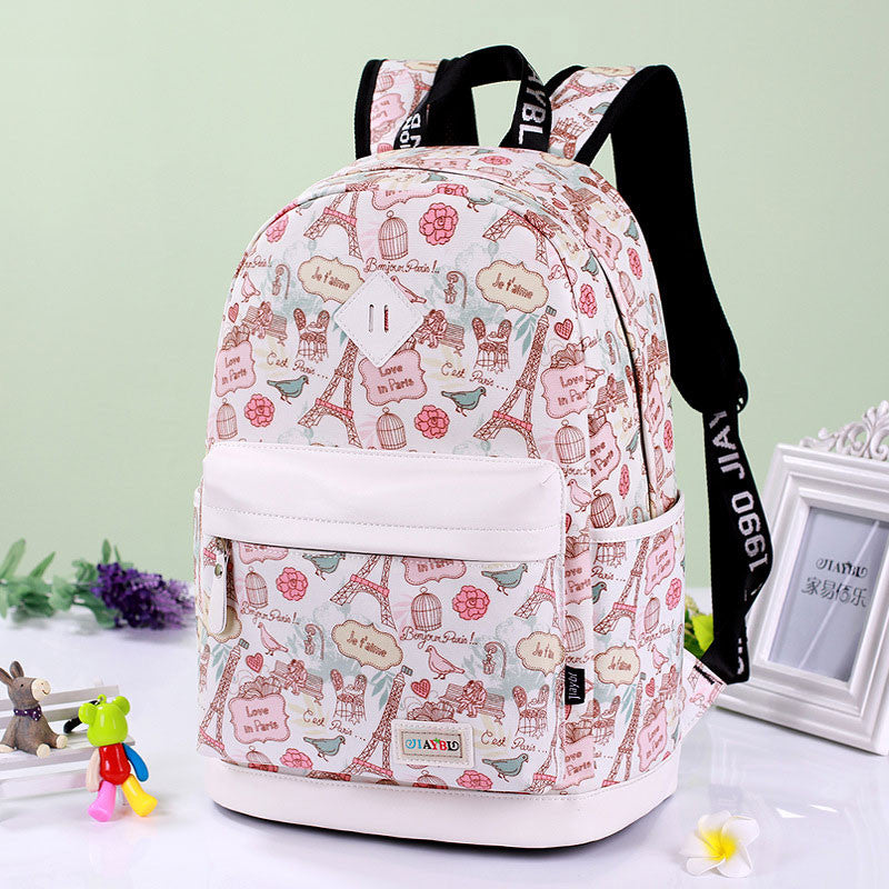 Preppy Style Print School Backpack Travel Bag - Oh Yours Fashion - 1