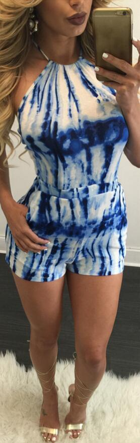 Halter Lace Up Tie-dyed Print Club Short Jumpsuit