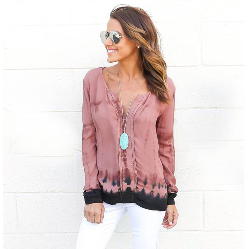 Fashion Pink Tie-Dye Leaking Print Long Sleeve Blouse - Oh Yours Fashion - 1