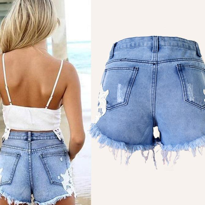 Bohemian Rough Edges Patchwork Hole High Waist Shorts - Meet Yours Fashion - 4