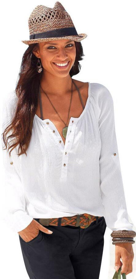 Fashion Long Sleeve V Neck Pure Color Loose Shirt Blouse - Oh Yours Fashion - 2