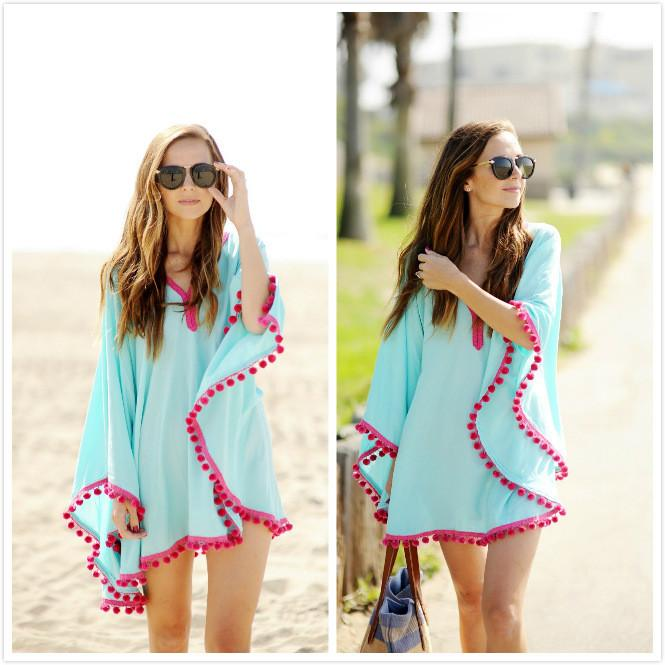 Scoop Pure Color Tassel Ball Long Sleeves Blouse