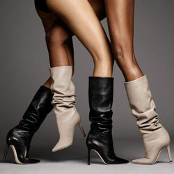 Leather High Heel Pointed Toe Knee High Boots