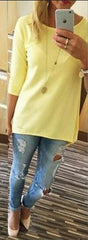 Candy Color 3/4 Sleeve Scoop Irregular T-shirt - Oh Yours Fashion - 2