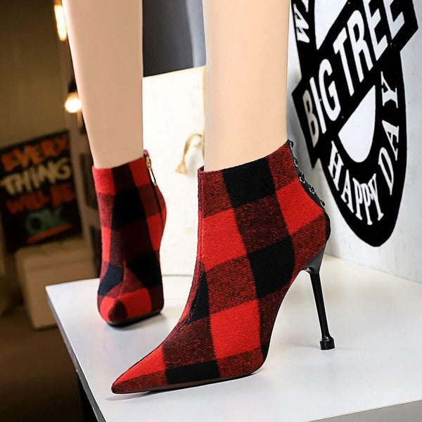 Plaid Point Toe Fabric High Heel Ankle Boots