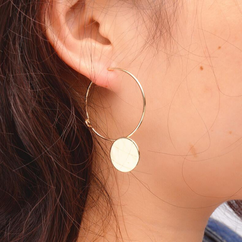 Korean Style Geometric Wafer Circle Earrings - Oh Yours Fashion - 1