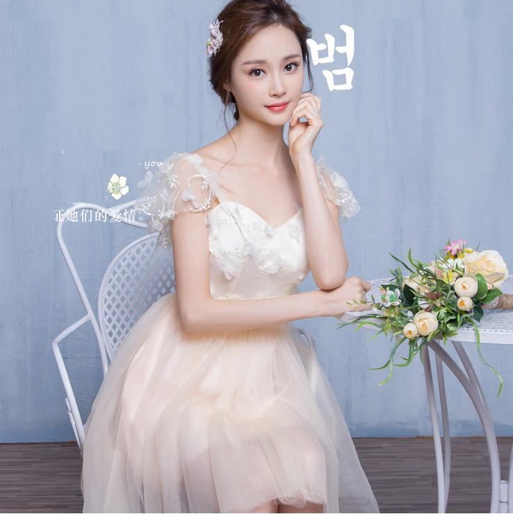 Transparent Short Sleeves Flowers Tulle Empire Short Party Bridesmaid Dress