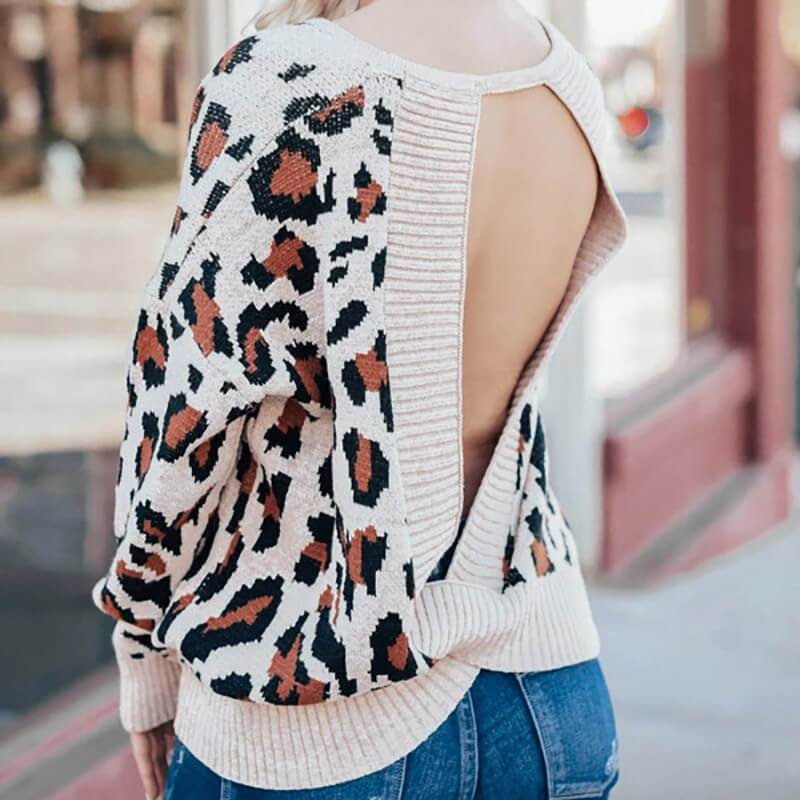 Leopard Backless Knitted Sweater