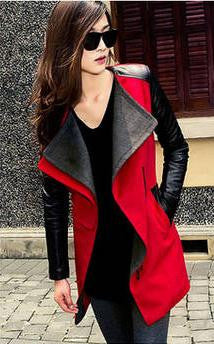 Lapel Casual Patchwork Slim Mid-length Woolen Coat - Oh Yours Fashion - 5