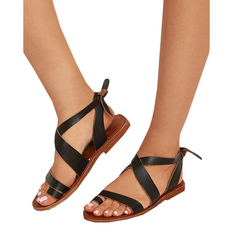 Thong Casual Straps Simple Style Ankle Wrap Lace Up Flat Women Flat Sandals
