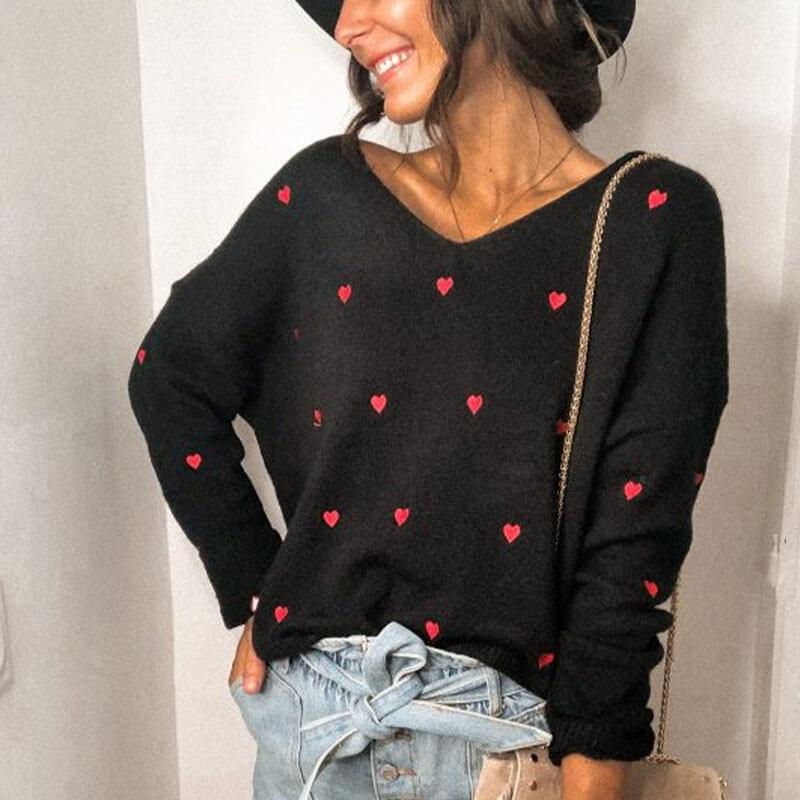 Hearts Pattern V Neck Sweater