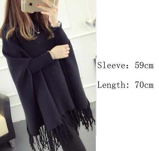 Fashion High Neck Tassel Cloak Sweater - Oh Yours Fashion - 4
