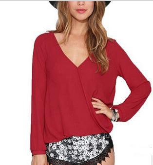 V-neck Long Sleeves Casual Plus Size Chiffon Blouse - Meet Yours Fashion - 6