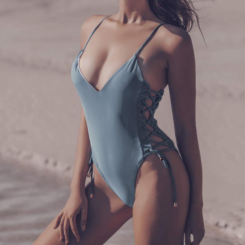 Blue Bandeau Cutout High Cut Swimsuits