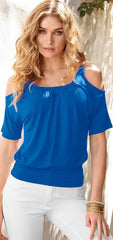 Casual Dew Shoulder Short Sleeve Pure Color Blouse - Oh Yours Fashion - 2