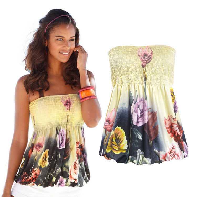 Strapless Flower Print Sleeveless Vest