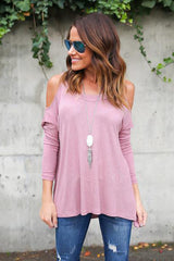 Bear Shoulder Scoop Pure Color Loose T-shirt