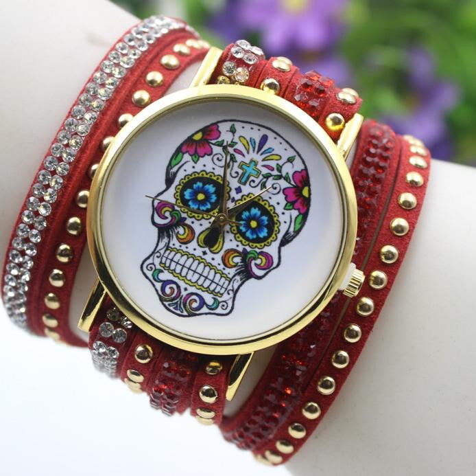Beautiful Flower Skull Lint Bracelet Watch - Oh Yours Fashion - 9