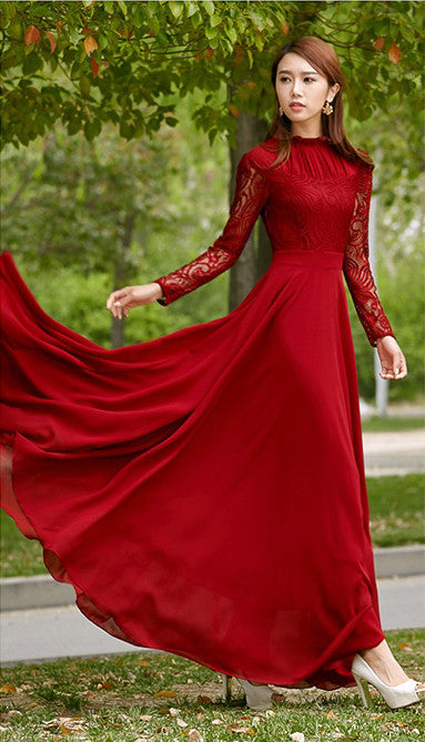 Charming Long Lace Sleeves Pleated Chiffon Long Red Maxi Dress - O Yours Fashion - 3