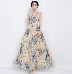 Beautiful Scoop Sleeveless Print Long Pleated Chiffon Dress - Oh Yours Fashion - 1