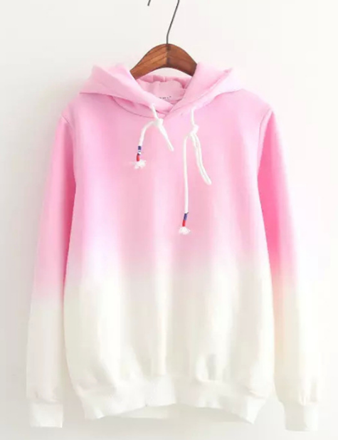 Gradient Color Korean Hooded Long Sleeves Hoodie - Oh Yours Fashion - 2