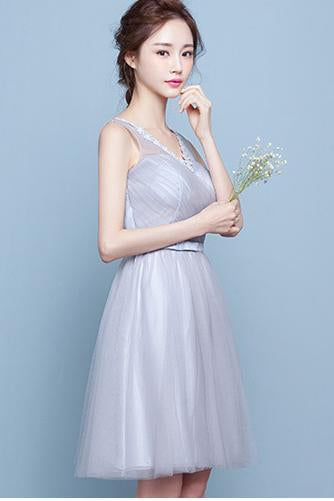 V-neck Sleeveless Pleated High Waist Short Party Bridesmaid Dress