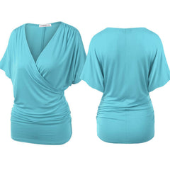 Sexy V Neck Wrap Style Pure Color Bat Short Sleeve Blouse - Oh Yours Fashion - 2