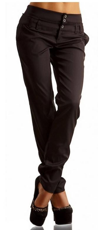 Casual Straight Pure Color Button Women Pants - Oh Yours Fashion - 1