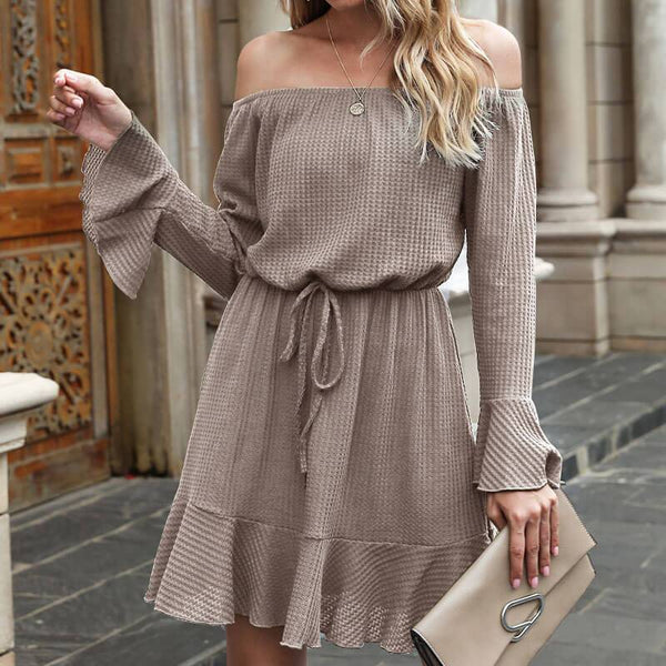 Off Shoulder Tie Waist A Line Short Dress