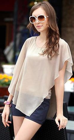 Irregular Scoop Sexy Falbala Chiffon Batwing Blouse - Oh Yours Fashion - 2