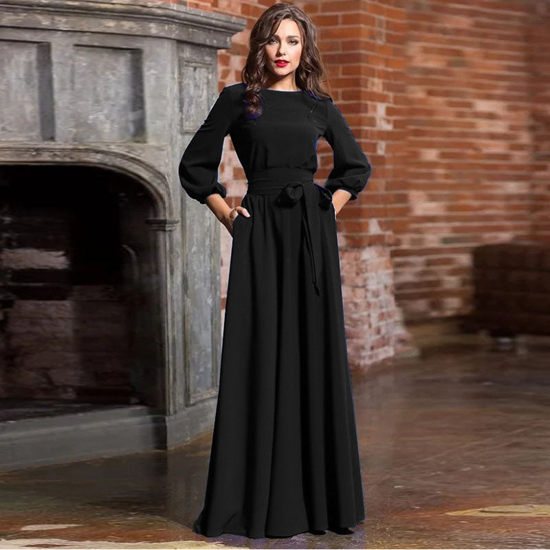 Vintage Lantern Sleeve Pleated Maxi Dress