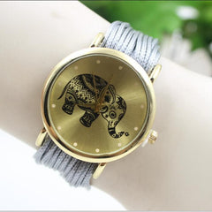 Elephant Print Multilayer Leather Watch - Oh Yours Fashion - 8