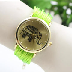 Elephant Print Multilayer Leather Watch - Oh Yours Fashion - 2