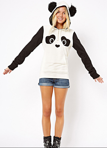 Panda Print Contrast Color Hooded Cute Sweatshirt - Oh Yours Fashion - 1